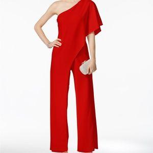 Adrianna Papell Flutter One Shoulder Jumpsuit-Red